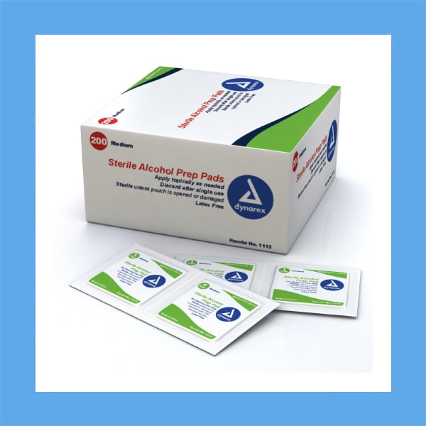 Dynarex Sterile alcohol prep pads saturated with 70% isopropyl alcohol