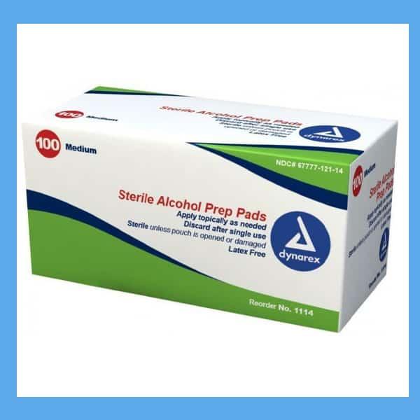 Dynarex Sterile Alcohol Wipes (prep pads) 70% isopropyl alcohol