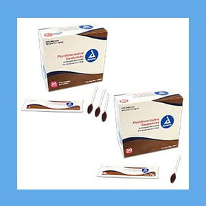 Dynarex Povidone-Iodine Swabsticks 10% povidone iodine solution 25 packs of 3 swabs Dynarex Povidone-Iodine Swabsticks 10% povidone iodine solution