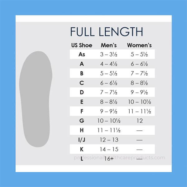 Powerstep Full Length Size Chart
